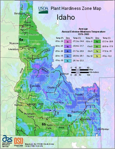 USDA Hardiness Map for Idaho