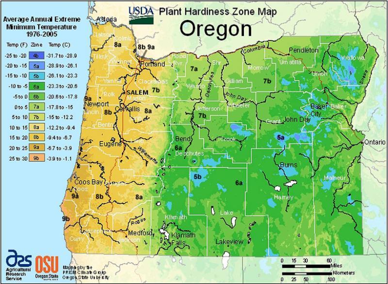 USDA Hardiness Map for Oregon